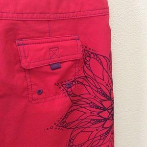 Prana Shorts - PRANA Swim Board Shorts Hot Pink Mandala Flower